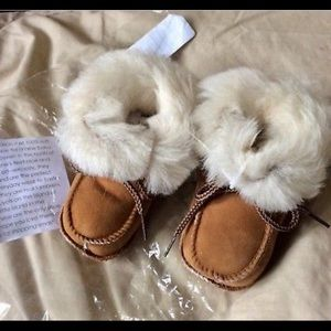 Other - New brown lamb skin baby booties Mocs 3-6 months